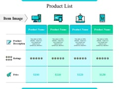 Product List Ppt PowerPoint Presentation Slides Sample