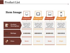 Product List Ppt PowerPoint Presentation Summary Skills