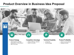 Product Overview In Business Idea Proposal Ppt PowerPoint Presentation Infographics Images