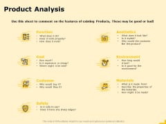 Product Performance And Product Competitive Analysis Product Analysis Diagrams PDF