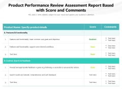 Product Performance Review Assessment Report Based With Score And Comments Ppt PowerPoint Presentation File Inspiration PDF