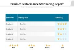 Product Performance Star Rating Report Ppt PowerPoint Presentation Portfolio Visual Aids PDF