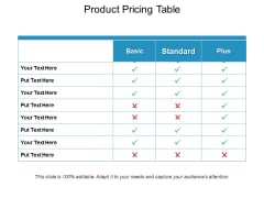 Product Pricing Table Ppt PowerPoint Presentation File Deck
