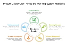 Product Quality Client Focus And Planning System With Icons Ppt PowerPoint Presentation Layouts Model PDF