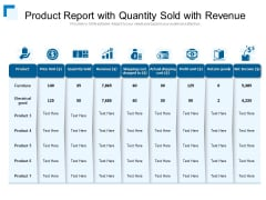 Product Report With Quantity Sold With Revenue Ppt PowerPoint Presentation Gallery Design Templates PDF