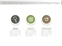 Product Review With Target Analysis Powerpoint Slide Background Designs