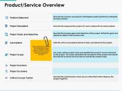 Product Service Overview Ppt Powerpoint Presentation Ideas Slides
