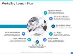 Product Strategy And Product Management Implementation Marketing Launch Plan Ppt Inspiration Portrait PDF