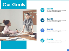 Product Strategy And Product Management Implementation Our Goals Ppt Styles Sample PDF