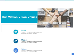 Product Strategy And Product Management Implementation Our Mission Vision Values Ppt Slides Graphics Tutorials PDF