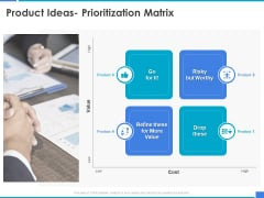 Product Strategy And Product Management Implementation Product Ideas Prioritization Matrix Ppt File Example Introduction PDF