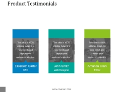 Product Testimonials Ppt PowerPoint Presentation Diagrams