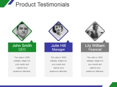 Product Testimonials Ppt PowerPoint Presentation Influencers