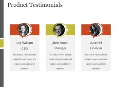 Product Testimonials Ppt PowerPoint Presentation Template