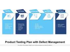 Product Testing Plan With Defect Management Ppt PowerPoint Presentation Gallery Maker PDF