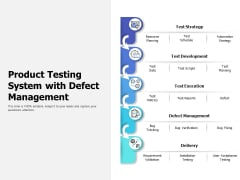 Product Testing System With Defect Management Ppt PowerPoint Presentation Inspiration Skills PDF