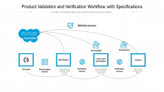 Product Validation And Verification Workflow With Specifications Ppt PowerPoint Presentation Infographics Professional PDF