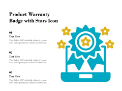Product Warranty Badge With Stars Icon Ppt PowerPoint Presentation Pictures Example Topics PDF