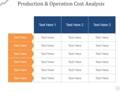 Production And Operation Cost Analysis Ppt PowerPoint Presentation Professional Show