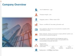 Production House Agreement Company Overview Ppt Inspiration Shapes PDF