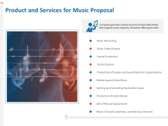 Production House Agreement Product And Services For Music Proposal Ppt Gallery Format PDF