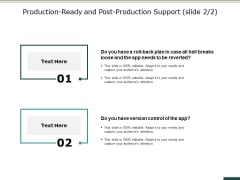 Production Ready And Post Production Support Slide Business Ppt PowerPoint Presentation Portfolio Clipart
