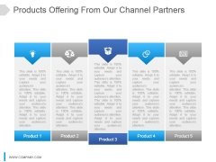 Products Offering From Our Channel Partners Ppt Slide Template