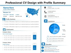 Professional CV Design With Profile Summary Ppt PowerPoint Presentation Styles Templates PDF