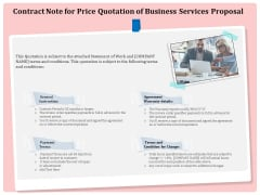 Professional Contract Note For Price Quotation Of Business Services Proposal Inspiration PDF