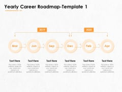 Professional Development And Career Planning Roadmap Yearly Career Roadmap 2019 To 2020 Ppt Summary Inspiration PDF