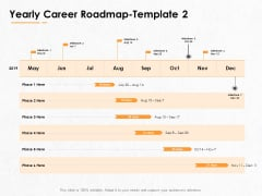 Professional Development And Career Planning Roadmap Yearly Career Roadmap Milestone Ppt Model Clipart Images PDF