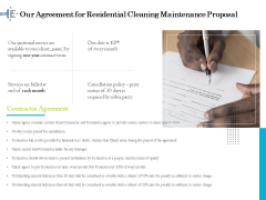 Professional House Cleaning Service Our Agreement For Residential Cleaning Maintenance Proposal Designs PDF