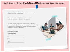 Professional Next Step For Price Quotation Of Business Services Proposal Professional PDF