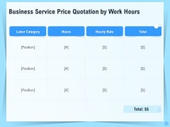 Professional Quotation Estimation Solutions Business Service Price Quotation By Work Hours Background PDF