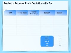 Professional Quotation Estimation Solutions Business Services Price Quotation With Tax Slides PDF