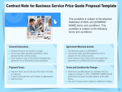 Professional Quotation Estimation Solutions Contract Note For Business Service Price Quote Proposal Elements PDF