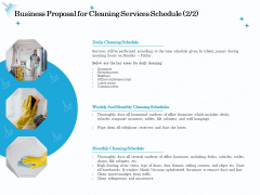 Professional Sanitation Solutions Business Proposal For Cleaning Services Schedule Areas Information PDF