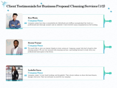 Professional Sanitation Solutions Client Testimonials For Business Proposal Cleaning Services Information PDF