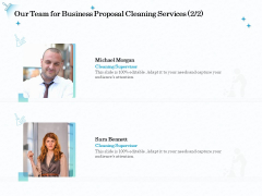 Professional Sanitation Solutions Our Team For Business Proposal Cleaning Services Audience Structure PDF