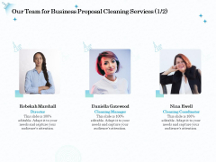 Professional Sanitation Solutions Our Team For Business Proposal Cleaning Services Ppt Slides Portfolio PDF
