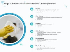Professional Sanitation Solutions Scope Of Services For Business Proposal Cleaning Services Inspiration PDF