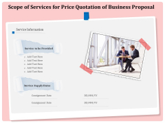 Professional Scope Of Services For Price Quotation Of Business Proposal Designs PDF