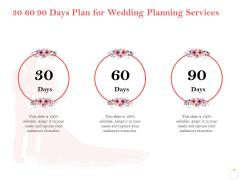 Professional Wedding Planner 30 60 90 Days Plan For Wedding Planning Services Ppt Slides Inspiration PDF