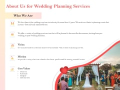 Professional Wedding Planner About Us For Wedding Planning Services Ppt PowerPoint Presentation Outline Format PDF