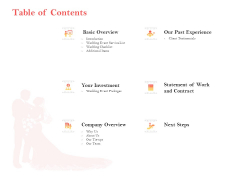 Professional Wedding Planner By Professional Wedding Planner Table Of Contents Ppt Slides Gridlines PDF