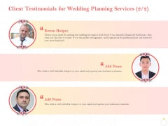 Professional Wedding Planner Client Testimonials For Wedding Planning Services Creativity Ppt Pictures Graphics Tutorials PDF