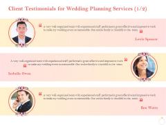 Professional Wedding Planner Client Testimonials For Wedding Planning Services Team Ppt Portfolio Diagrams PDF