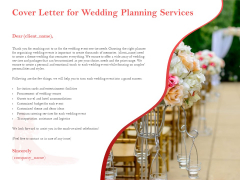 Professional Wedding Planner Cover Letter For Wedding Planning Services Ppt PowerPoint Presentation Inspiration Background PDF