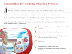 Professional Wedding Planner Introduction For Wedding Planning Services Ppt PowerPoint Presentation Slides Graphics Download PDF