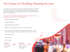 Professional Wedding Planner Next Steps For Wedding Planning Services Ppt PowerPoint Presentation Outline Mockup PDF